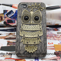 Bronze Owl Black Hard Case Cover for iPhone 4,iPhone 4s,iPhone 4g