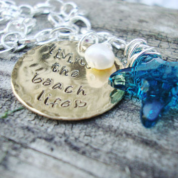 Living the beach life hammered brass necklace with teal starfish crystal and freshwater pearl