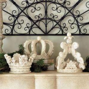 Deauville Wooden Crown Distressed White - Regal Crown - Wooden Crown