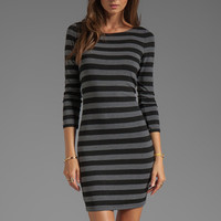 Alice + Olivia Long Sleeve Scoop Neck Dress in Black/Grey from REVOLVEclothing.com
