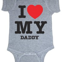 So Relative! I Love My Daddy (Red Heart) Heather Grey Baby Infant Short Sleeve Bodysuit Creeper (Heather Gray, Newborn)