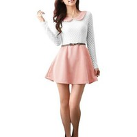 Allegra K Ladies Long Sleeves Mesh Splice Pullover Mini Dress Light Pink XS:Amazon:Clothing