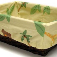NoJo Jungle Babies Nursery Basket with Fabric Liner