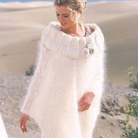 HAND KNITTED MOHAIR YARN WHITE PONCHO Great for royal wedding | tvkstyle - Knitting on ArtFire