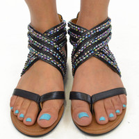MoonSpoon Black/Metallic Sandals