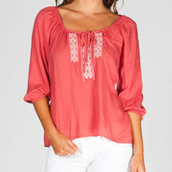 Full Tilt Embroidered Womens Hi Low Peasant Top Coral  In Sizes