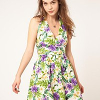 ASOS | ASOS Halter Summer Dress In Tropical Print at ASOS