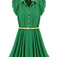 Green Lapel Buttons Bandeau Pleated Chiffon Dress SM016