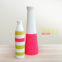 Set of 2 Painted Ceramic Vases Home Decor - neon style
