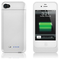 uNu Power DX External Protective Battery Case for iPhone 4S & 4 - MFI Apple Certified (Glossy White, Fit All Models iPhone 4 & 4S)