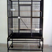 New Large Wrought Iron 4 Levels Ferret Chinchilla Sugar Glider Small Animal Cage 32-Inch by 19-Inch by 64-Inch With Stand on Wheels *Black*