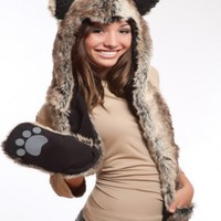 Wolf Full Animal Hood Hoodie Hat Faux Fur 3 in 1 Function