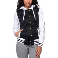 Empyre Girls Brooke Black & White Varsity Tech Fleece Jacket at Zumiez : PDP
