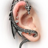 Vintage Dragon Lure Gothic Ear Cuff Stud Earring Alchemy, Thailand:Amazon:Everything Else