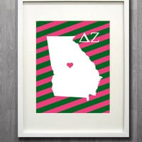 Custom State Delta Zeta Glicée Print - 8x10 - Pick your State, City, and Background
