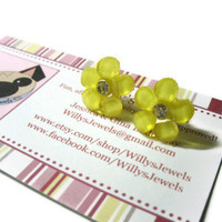 Flower Stud Earrings, Yellow Daisies, Clear Rhinestone Center, Acrylic, Gold Toned Brass Posts