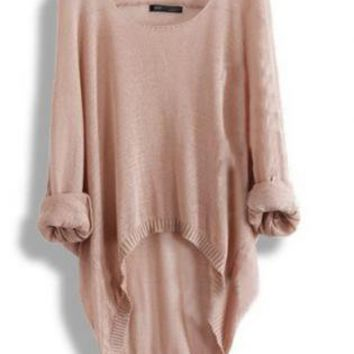 Batwing Casual Asymmetric Sweater For Woman