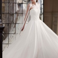 Strapless Ruched Bodice Tulle Ball Gown - David's Bridal - mobile