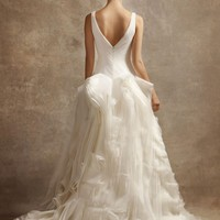 V Neck Ball Gown with Fully Draped Skirt - David's Bridal - mobile