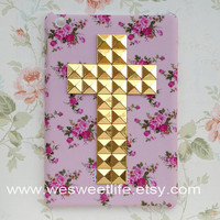 iPad mini Case, studded Golden Cross iPad mini Case, Vintage red Rose Flower lilac iPad mini Case, Hard case for iPad mini