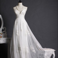 Lace Chiffon Wedding Dress Bridal Gown Beach Wedding Dress