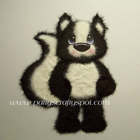 Sidney The Skunk Standing Tear Bear Paper Piecing Embellishment By Patty