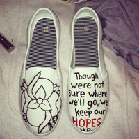 Women's custom La Dispute handpainted slip ons