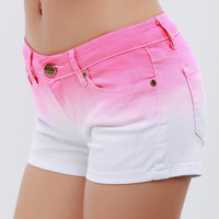 Casual Gradient Color Denim Shorts for Women