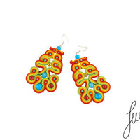 Bohemian soutache earrings, sterling silver ear wires for sensitive ears