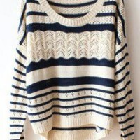 Blue White Stripes Loose Hollow Sweater