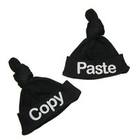 So Relative! Baby Knotted Hat Cap Set- TWINS Copy/Paste 2-Pack (0-9 Months)