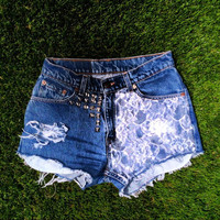 Vintage High Waist Denim Jean LACE Panel Shorts by MissDomineek