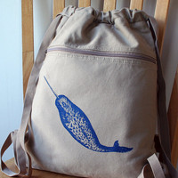 Narwhal Backpack Canvas Screen Printed by catbirdcreatures on Etsy