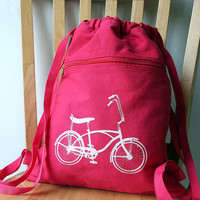 Vintage Bike Backpack Canvas Screen Printed by catbirdcreatures