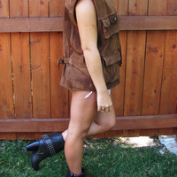 vintage distressed brown suede Wilsons leather vest. unisex. distressed leather vest