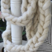 Handmade Super Bulky Infinity Scarf in Ivory of by bpenatzer