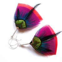 Art Deco Feather Earrings in Red Purple by Stilltreejewellery