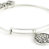 "Alex and Ani Bangle Bar ""Lotus Peace Petals"" Rafaelian Silver Finish Expandable Bracelet"