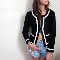 Vintage Black & White Sweater Cardigan Wool Button Up Down Winter Fashion Fitted Cropped Womens