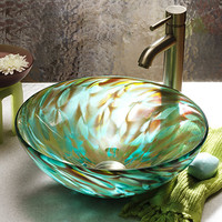 Aqua Iris by Suzanne Guttman: Art Glass Sink - Artful Home