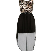 Leopard Print Drop Hem Dress - Clothing - desireclothing.co.uk