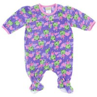 Pears and Carrots Purple Frog Footed Pajamas for Infant and Toddler Girls 2T