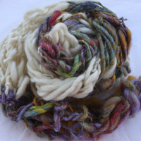 Hand Knit Scarf in Ivory and Multi Color Handspun by bpenatzer