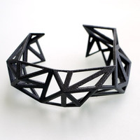 spring fashion black geometric cuff  Triangulated by ArchetypeZ