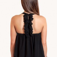 Ruffle Back Top - Black - Tops