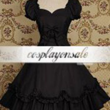 Black Short Sleeves Bow Cotton Classic Lolita Dress [T110127] - $77.00 : Cosplay, Cosplay Costumes, Lolita Dress, Sweet Lolita