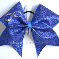 3 Wide Luxury Cheer Bow  Rhinestone Infinity by BowsWithAttitude
