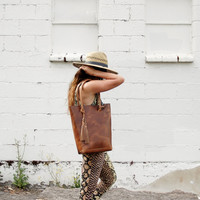 Deep Tan Horween leather tote- The Panama Tote by Arc of a Diver