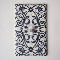 French Floral Scroll Navy & Cream Switch Plate, Wall Decor Switchplate