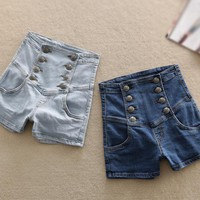 Womens Summer Vintage High Waisted Denim Retro Shorts
